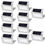 Outdoor Solar Step Lights by QINGYA Stainless Steel Waterproof 3 LED Lights Illuminates