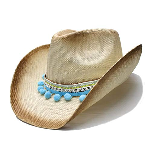 (Womens Mens Summer Straw Wide Brim Beach Western Cowgirl Fedora Cowboy Hat Pom Ball Braid Band Beige)