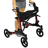 Folding Rollator Walker by Vive - 4 Wheel Medical Rolling Walker with Seat & Bag - Mobility Aid for Adult, Senior, Elderly & Handicap - Aluminum Transport Chair (Red)