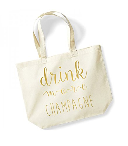 Drink More Champagne - Large Canvas Fun Slogan Tote Bag Natural/Gold