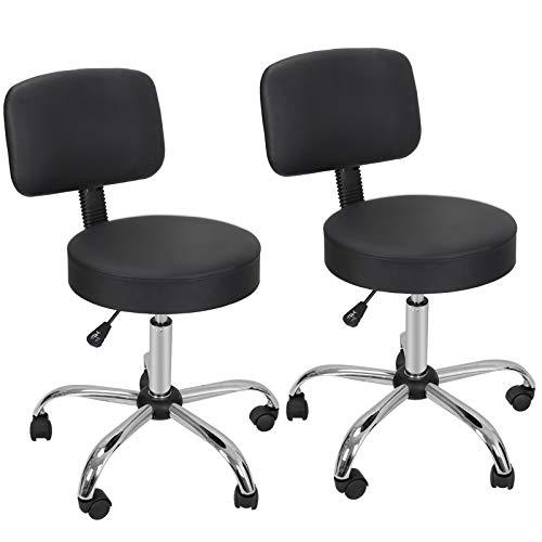 Nova Microdermabrasion Adjustable Hydraulic Rolling Swivel Salon Stool Chair Tattoo Massage Facial Spa Stool Chair with Back (PU Leather Cushion) Black 2pcs