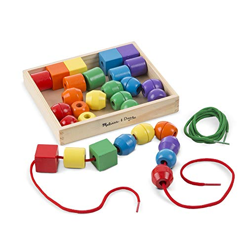 "(Melissa & Doug Primary Lacing Beads, Developmental Toys, Easy to Assemble, 30 Beads and 2 Laces, 1.5"" H x 7.75"" W x 9.25"" L)"