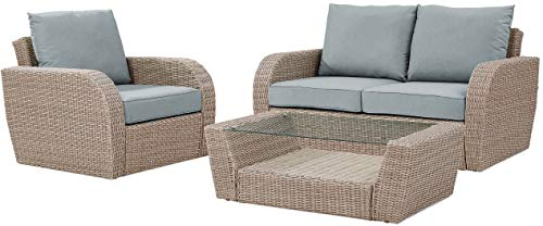 Crosley Furniture KO70137WH-MI St. Augustine 3-Piece Outdoor Wicker Seating Set (Loveseat, Chair, and Coffee Table), Weathered White with Mist Cushions (Loveseat Mist Patio)