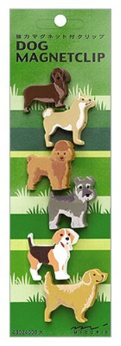 Midori Magnet Clip, Dogs, Six Pieces (43024006)