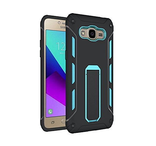 GR Para Samsung Galaxy J2 2016 TPU y PC resistente de doble capa con caja de Kickstand Cool a prueba de golpes Armor Hybrid ( Color : Rose Gold ) Blue
