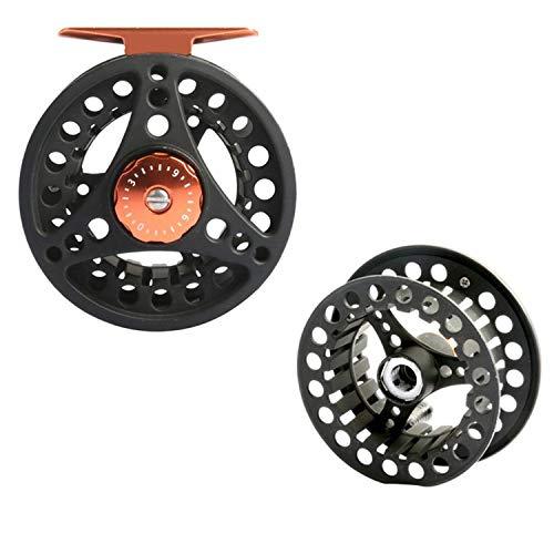Fly Fishing Reel 1/2/3/4/5/6/7/8 WT Large Arbor Die Casting Aluminum Fly Reel,Black Reel and Spool,3000 Series ()