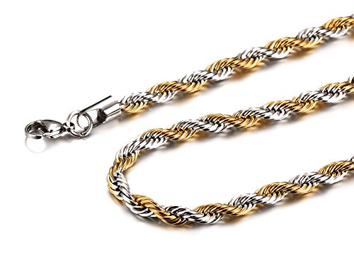 Chain Two Tone Necklace (Mealguet Jewelry Two-tone Stainless Steel Twisted Rope Chain Necklace for Men,6mm 21.6