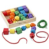 "Melissa & Doug Primary Lacing Beads, Developmental Toys, Easy to Assemble, 30 Beads and 2 Laces, 1.5"" H x 7.75"" W x 9.25"" L"
