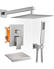 Bathfinesse Brushed Nickel Shower System, Shower Trim Kit 10-Inch Rain Shower Head,High-Pressure Hand-held Shower,and Waterfall Tub Spout,Modern Bathroom Shower Faucets Sets Complete,Valve Included