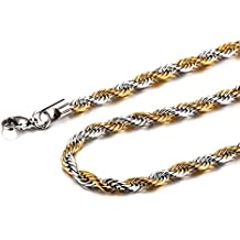 Mealguet Jewelry Stainless Steel Twisted Rope Chain Necklace for Men