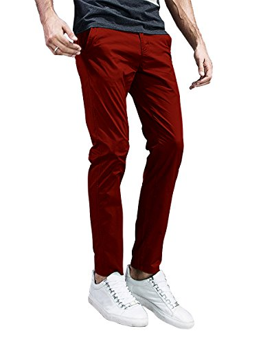 Match Mens Slim-Tapered Flat-Front Casual Pants (29, 8105 Red)