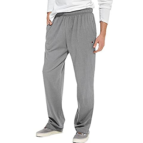 Champion Authentic Men's Open Bottom Jersey Pants Light Weight Sweatpant (Small, Oxford Grey) - Champion Oxford Sweatpants