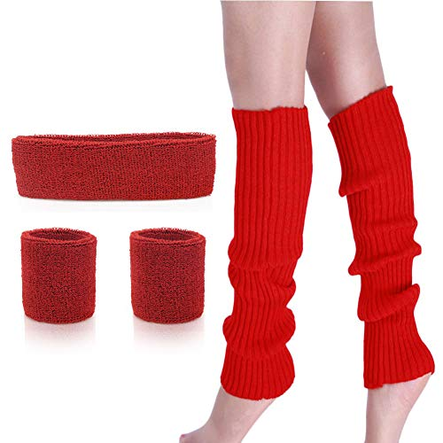 Womens 80s Neon Running Headband Wristbands Knit Leg Warmers Sports Set (Red)