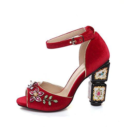GJDE Sandalias de Gamuza?Mujer Tacón Robusto Talón de bloque Zapatos del club Tacones Vestido Informal Fiesta a