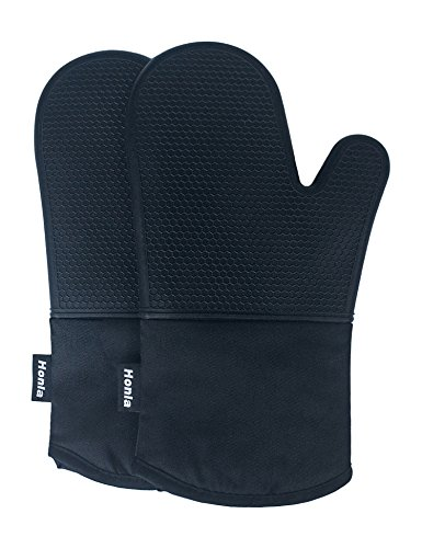 Honla Silicone Oven Mitts - Heat Resistant to 500° F,1 Pair of Non-Slip Kitchen Oven Gloves for Cooking,Baking,Grilling,Barbecue Potholders,Black