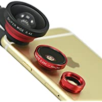 "First2savvv JTSJ-CJ3-08 red Universal Detachable 0.4X Super Wide Angle + 0.29X fish eye + Macro lens professional Mobile phone Lens for   ASUS FonePad ME175CG 7 3G Tablet GIGASET QV830 8 Tablet LG G Pad 8.3"" Tablet with LENS Cleaning Cloth"