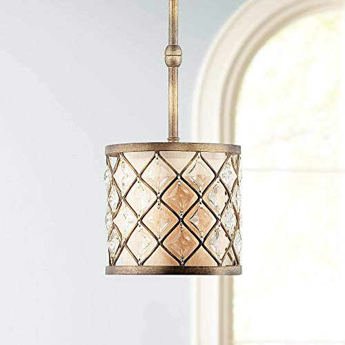 "Jeweled Golden Bronze 9"" Wide Mini Pendant Light - Regency Hill"