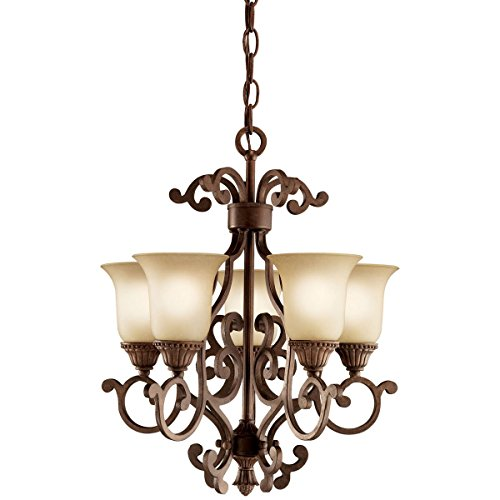 Tannery Bronze Single Light (Tannery Bronze with Gold Larissa Single-Tier Mini Chandelier with 5 Lights - 72in. Chain Included - 16 Inches Wide)