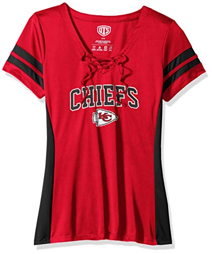 NFL Kansas City Chiefs Female OTS Poly Lace Up V-Neck Tee, Red, Large