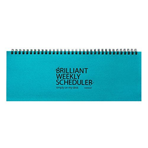 PAPERIAN Brilliant Weekly Scheduler - Wirebound Undated Weekly Planner Pad Scheduler (Blue)