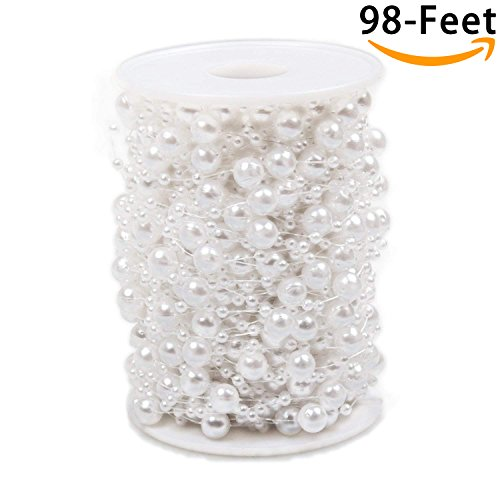 Pearl Beads Chain 98 Feet, ABUFF Pearl Beads String Artificial Pearl Beaded Trim for Garland Flowers Wedding Party Decoration Bridal Bouquet, 30M, 3-8mm, ()