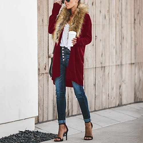 Trada Cardigan Donna Invernale Elegante Cardigan Maglione con Collo di Pelliccia Maglioni Maglia Maglieria Eleganti Tumblr Maglieria Giacca Donna Knitted Pullover Cardigan Cappotto Donna