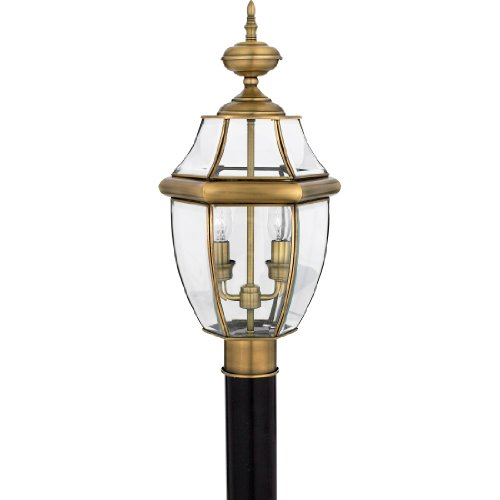 Quoizel NY9042A Newbury 2-Light Outdoor Lantern, Antique Brass (Antique Lamp Post)