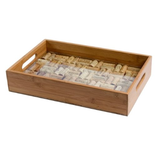 Oenophilia Greenophile Bamboo Cork Service Tray Kit, 100% Bamboo, Glass Pane, Do-it-Yourself, Corks NOT included ()
