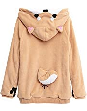 CORIRESHA Cute Coral Celvet Long Sleeve Shiba Inu Dog Home Wear Clothes Hoodie Sweatshirt with 3D Dog Ear and Dog Tail