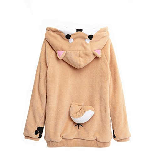CORIRESHA Cute Coral Velvet Long Sleeve Shiba Inu Dog Home Wear Clothes Hoodie Sweatshirt with 3D Dog Ear and Dog Tail,White,Medium -