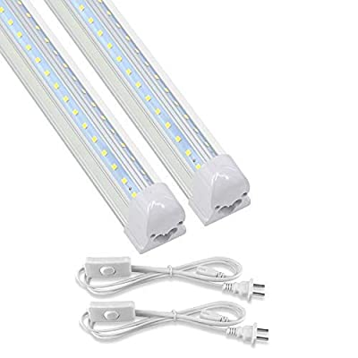 CNSUNWAY T8 LED Light Tube, 2FT, 14W, 1680LM, 4000K(Daylight Glow), Linkable Integrated Single Fixture, Clear Cover, V Shape, Utility Shop Light, Ceiling and Under Cabinet Light, Corded Electric