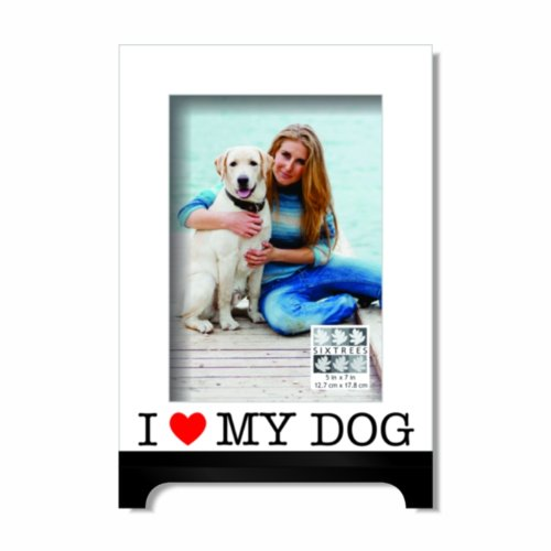Sixtrees I Love My Dog Heart Luxury Frame, 5 by 7-Inch, Red