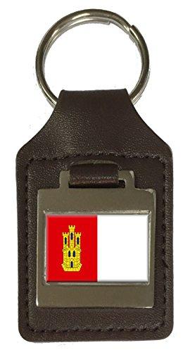 Llavero de piel con grabado de la bandera de Castilla-La Mancha