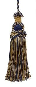 Borla decorativa de 14 cm para llavero, color azul marino oscuro, dorado imperial II, colección Style#KTIC, color: azul marino dorado 1152