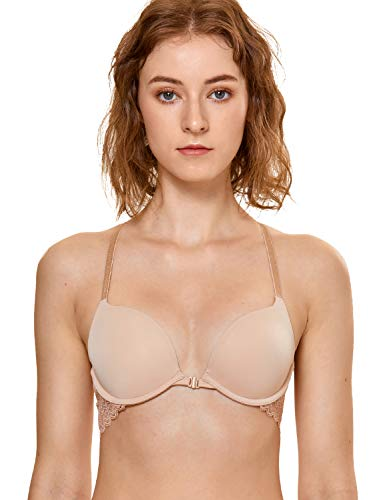 DOBREVA Women's Front Close Bra Underwired T-Shirt Padded Push Up Bra Plunge Beige 36D