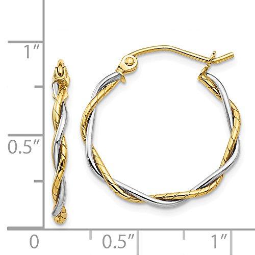 14k Two Tone Gold Polished1.8mm Twisted Hoop Earrings. 20mm Diameter.