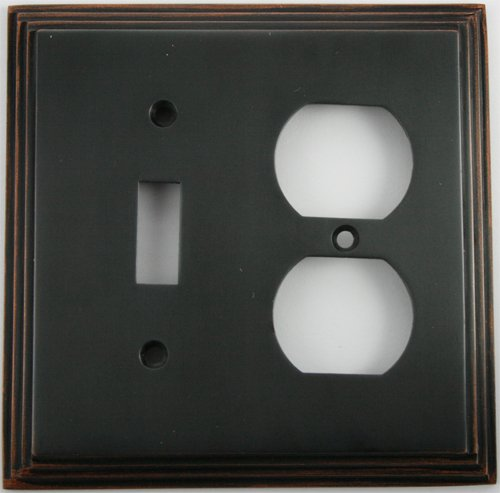 Deco Step Style Oil Rubbed Bronze 2 Gang Wall Plate - 1 Toggle 1 Duplex ()