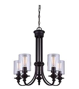 canarm ich586a05orb york 5 light chain chandelier with clear glass