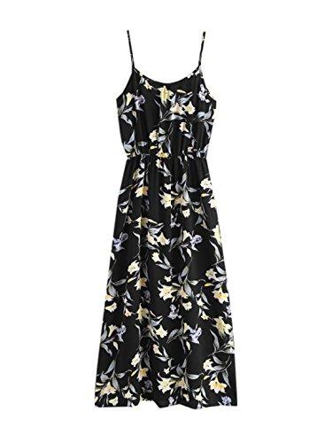 SheIn Women's Floral Printed Spaghetti Strap Long Dress Lily-Black X-Large