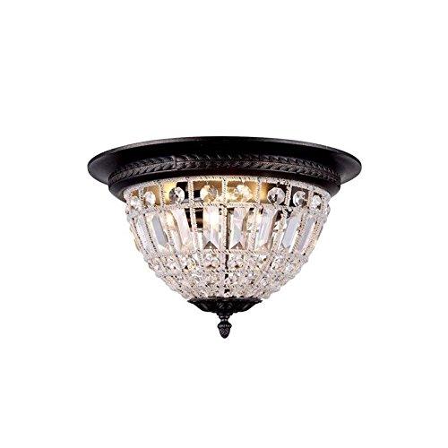 (Elegant Lighting 1205F18DB/RC Olivia Collection 3-Light Flush Mount with Royal Cut, 18