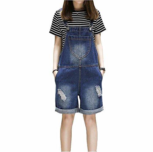Playsuit Pantaloni Pantaloni Jeans Strappati Corta Elwow Forti Blu Corti Denim Tuta Taglie Lady's wqqPZFS