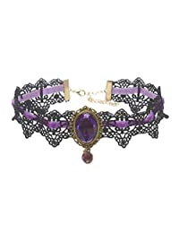 MEiySH Retro Handmade Lace Royal Court Vampire Choker Gothic Necklace Black Pendant Chain