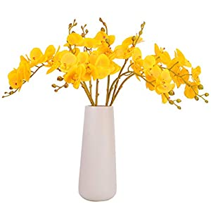 BOMAROLAN Artificial Flowers Faux Butterfly Orchid 4 Pcs Real Touch Double Branch Silk Flowers for Wedding Home Office Party Hotel Yard Decoration Restaurant Patio Festive Furnishing (Yellow)