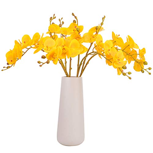Bomarolan Artificial Butterfly Orchid Real Touch Faux Phalaenopsis Double Branch Silk Flowers 3D Printing Technology 4 Pcs for Wedding Home Party Hotel ()
