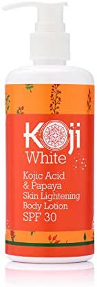 Kojic Acid & Papaya Skin Lightening Body Lotion SPF 30 - For Sunscreen & Sun Protection - Even Skin Tone And Deep Nourishment –Dark Spot Elimination, 10 Ounce Bottle
