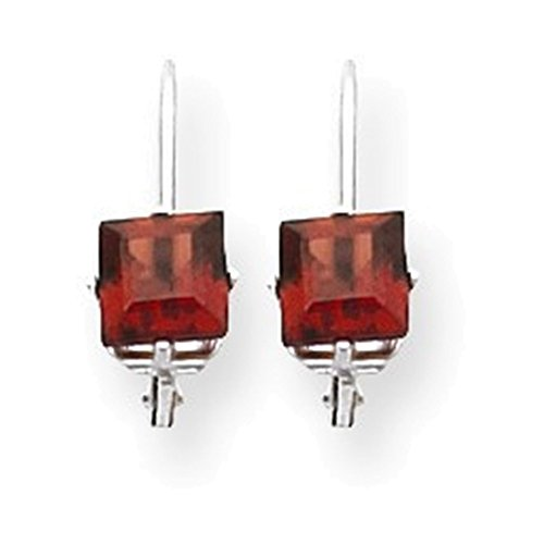 (14k White Gold 5mm Princess Cut Garnet Leverback Earrings)