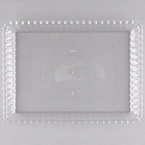 Juego de 6 bandejas de plástico duro para servir (desechables, reutilizables, 23 x 33 cm) transparente: Amazon.es: Hogar