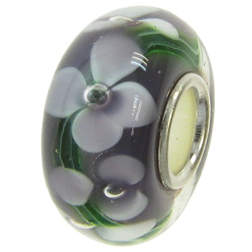Dreambell .925 Sterling Silver Round Purple Murano Flower Glass Bead For European Charm Bracelets