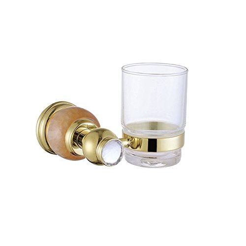OLQMY European style all copper plated gold bath, brush tooth cup hanging, bathroom wall hanging gargle cup by OLQMY