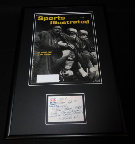 Don Chandler Signed Framed Note & 1960 Sports Illustrated Cover Display Giants